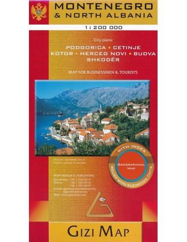 Montenegró - Észak-Albánia térkép