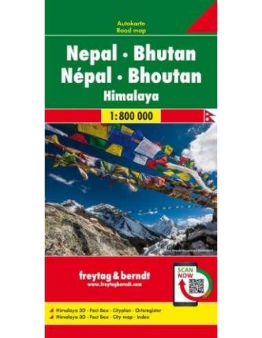 Nepál - Bhután - Himalája térkép