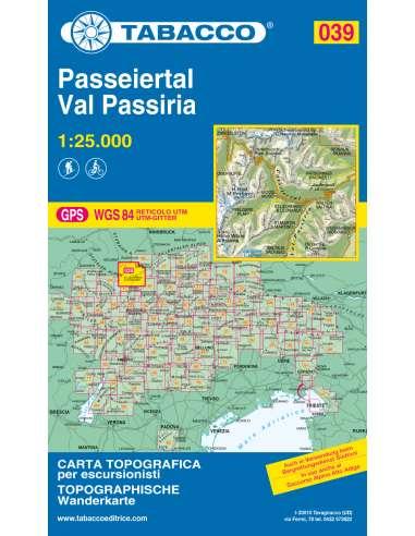 TO 039 Val Passiria - Passeiertal térkép