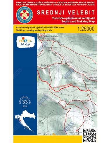 HG 33 Srednji Velebit térkép