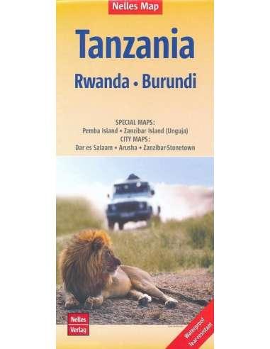 Tanzánia - Ruanda - Burundi térkép