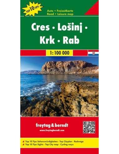 Cres - Losinj - Krk - Rab térkép - Top10