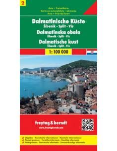 Dalmát tengerpart 2: Sibenik-Split-Vis térkép