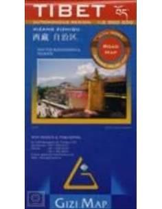 Tibet autós térkép