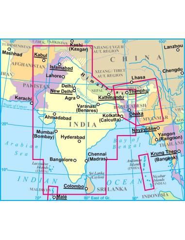 India Domborzati Terkep