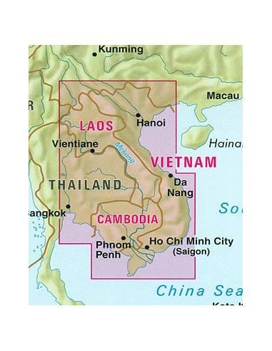Vietnám, Laosz, Kambodzsa térkép -...