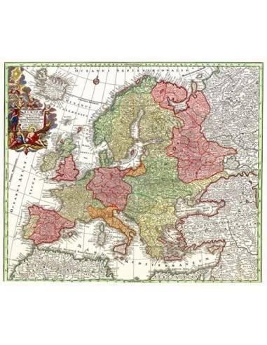 Európa 1729 falitérkép 68X62 cm íves