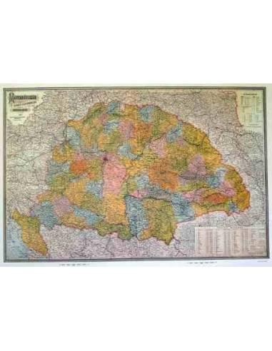 Magyarország 1899 térkép keretezett...